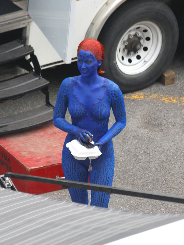 EXCLUSIVE: Jennifer Lawrence, who plays Mystique, on the set of the movie 'X-Men: Days of Future Past' in Montreal