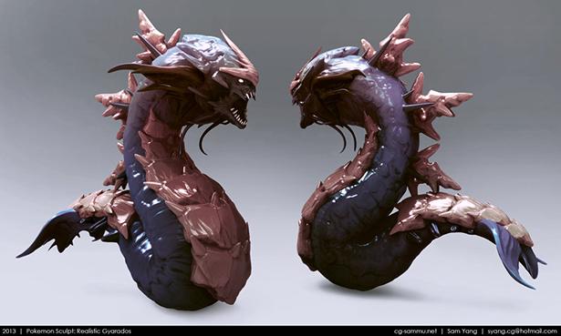 pokemon_sculpt__realistic_gyarados_2013_by_cg_sammu-d5wqcio