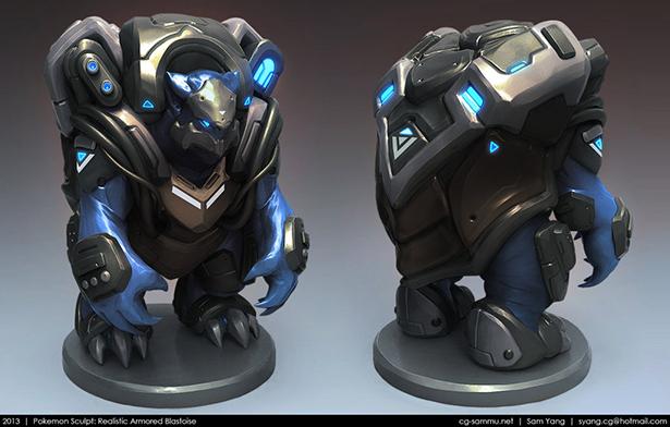 pokemon_sculpt_realistic_armored_blastoise_2013_by_cg_sammu-d5uhqk7